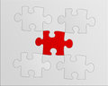 Puzzle gray with a red piece Stock Photos