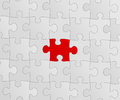 Puzzle gray with a red piece Royalty Free Stock Image
