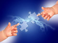 Puzzle and hands over blue background Royalty Free Stock Photography