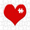 Puzzle-heart with the lost slice Royalty Free Stock Photography
