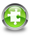 Puzzle icon glossy green round button Royalty Free Stock Photo