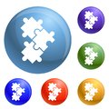 stock image of  Puzzle icons set vector