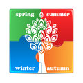 Puzzle with the image of seasons icon times year on white background Stock Photo