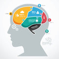 Puzzle jigsaw abstract human brain infographic template concept vector illustration Stock Photos