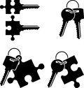 Puzzle keys. stencil Stock Images