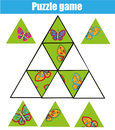 Puzzle kids activity. Matching children educational game. Match pieces and complete the picture.
