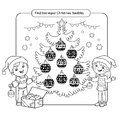 Puzzle for kids. Kid mind game. Assorted things to find the match. Christmas balls set. Coloring page for children.