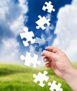 Puzzle and landscape Royalty Free Stock Photo