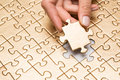Puzzle with missing piece last of jigsaw Stock Photo