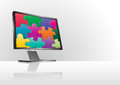 Puzzle monitor illustration of modern with colorful Royalty Free Stock Image