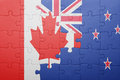 Puzzle with the national flag of canada and new zealand