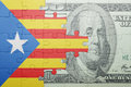 Puzzle with the national flag of catalonia and dollar banknote Royalty Free Stock Photo
