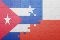 Puzzle with the national flag of chile and cuba