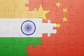 Puzzle with the national flag of china and india