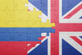 Puzzle with the national flag of great britain and colombia