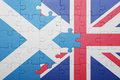 Puzzle with the national flag of great britain and scotland