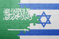 Puzzle with the national flag of israel and saudi arabia