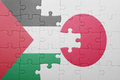 Puzzle with the national flag of japan and palestine