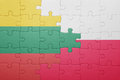 Puzzle with the national flag of lithuania and poland