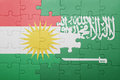 Puzzle with the national flag of saudi arabia and kurdistan