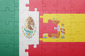 Puzzle with the national flag of spain and mexico