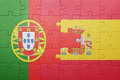 Puzzle with the national flag of spain and portugal