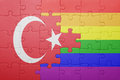 Puzzle with the national flag of turkey and gay flag