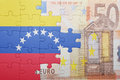 Puzzle with the national flag of venezuela and euro banknote