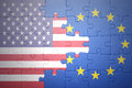 Puzzle with the national flags of united states of america and european union Royalty Free Stock Photo