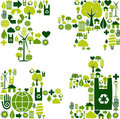 Puzzle piece with environmental icons Royalty Free Stock Photo