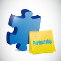 Puzzle piece and partnership post illustration design over a white background Royalty Free Stock Images