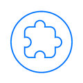 Puzzle piece, plugin circular line icon. Round colorful sign. Flat style vector symbol. Royalty Free Stock Photo