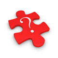 Puzzle piece with question mark d a symbol on it Stock Image