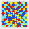 Puzzle Pieces Background Diverse Colors Fitting Together