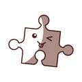 Puzzle pieces kawaii character