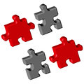 Puzzle pieces over white background abstract vector art illustration Royalty Free Stock Photos