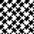 Puzzle pieces seamless backgound pattern black and white geometric tile Royalty Free Stock Photography