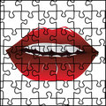 Puzzle and red lips Royalty Free Stock Photo