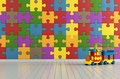 Puzzle room toys with colorful on wall and plastic train rendering Stock Photography