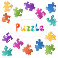 Puzzle stickers set. Vector blocks collection.