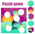 Puzzle for toddlers. Match pieces and complete the picture. Educational game for pre school years kids with mermaid