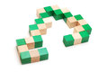 Puzzle toy snake cube isolated on white Royalty Free Stock Images