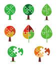 Puzzle tree icons set of and symbols stylized as vector illustration Royalty Free Stock Photo