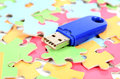Puzzle and USB disk Stock Images