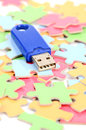 Puzzle and USB disk Stock Photos