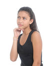 Puzzled girl teen on white background Stock Image
