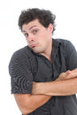 Puzzled man on a white background Stock Photography