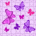 Puzzles with butterflies in pink colour Stock Photos
