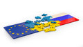 Puzzles of stacked flags european union russia and ukraine Stock Photos
