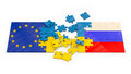 Puzzles of stacked flags european union russia and ukraine Royalty Free Stock Photography